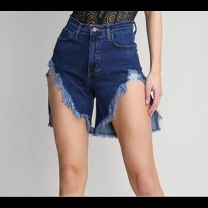 Shorts - Distressed denim shorts